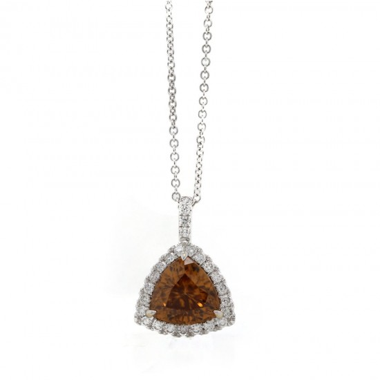 Brown Zircon Trillion Halo Pendant