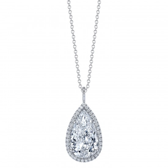 Pear Shaped Diamond Halo Pendant