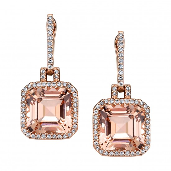 Asscher Cut Morganite Earrings