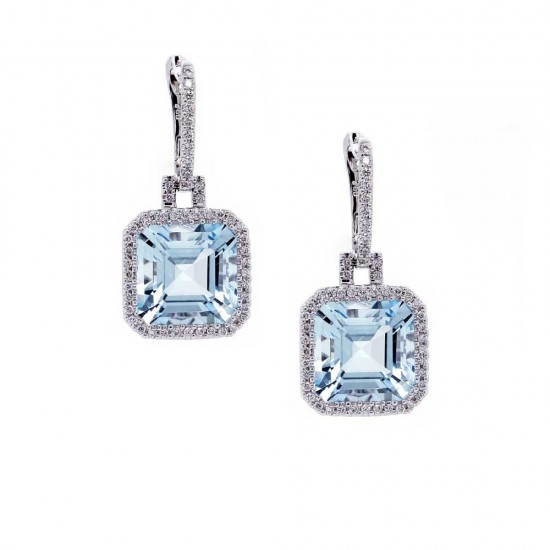 Asscher Cut Aquamarine Drop Halo Earrings
