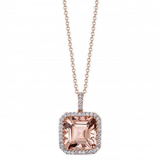 Asscher Cut Morganite Pendant