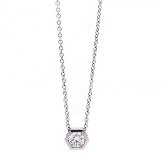 Hexagonal Diamond Solitaire Pendant 0.31ct
