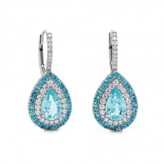 Paraiba Tourmaline Pear Drop Earrings