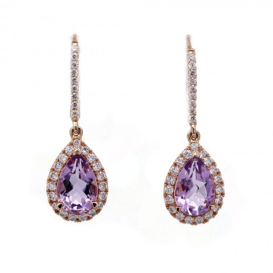 Amethyst Rose Gold Drop Earrings