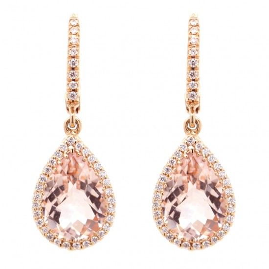 Morganite Dangle Halo Earrings