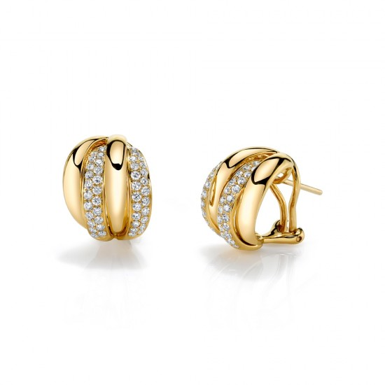 Pave Yellow Gold Hoop Earrings