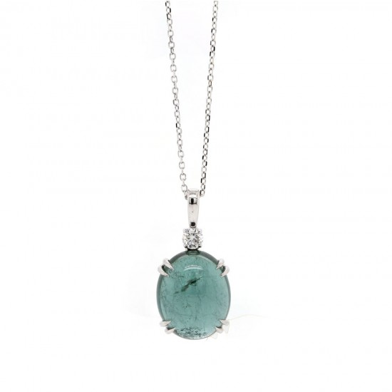 Tourmaline Cabochon and Diamond Pendant
