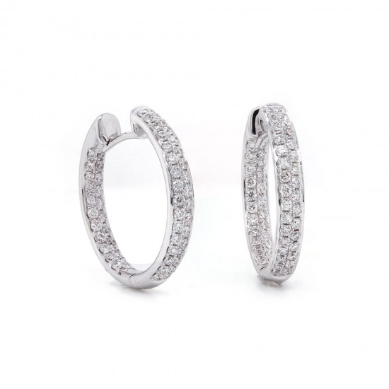 Diamond Inside Out Hoop Earring 20mm