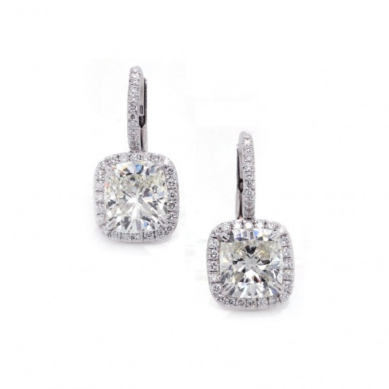 Cushion Cut Diamond Halo Earrings