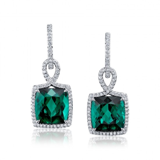 Green Tourmaline Diamond Earrings