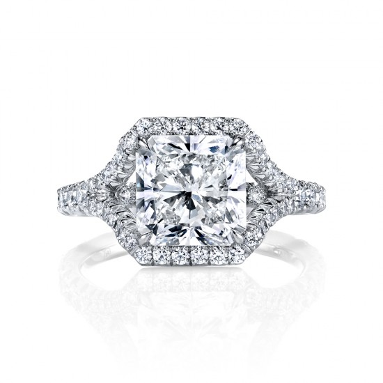 Radiant Cut Diamond Split Shank Engagement Ring