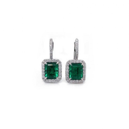 Emerald Cut Emerald Halo Earrings