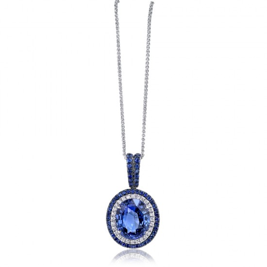 Sapphire Pendant with Sapphire Halo