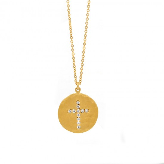Yellow Gold Diamond Cross Hammered Disc Necklace