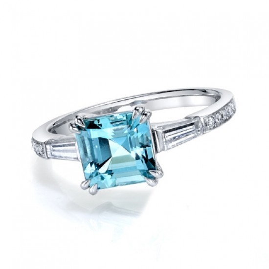 Asscher Cut Aquamarine Diamond Ring