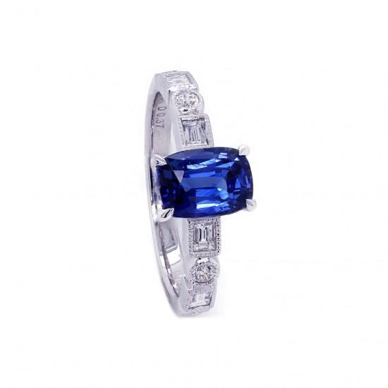Sapphire Art Deco Inspired Ring