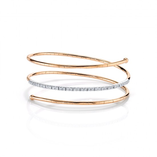 Rose Gold Spiral Diamond Bracelet