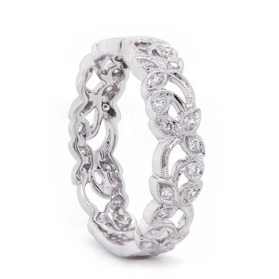 Open floral pave' diamond milgrained band