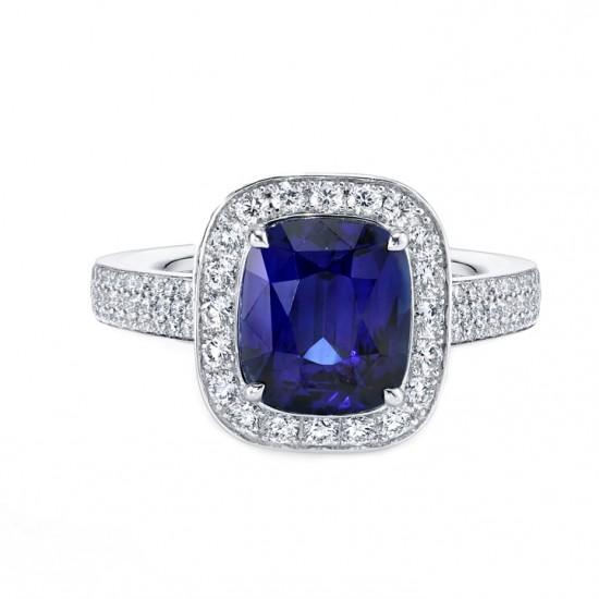 Blue Sapphire Diamond Halo Ring