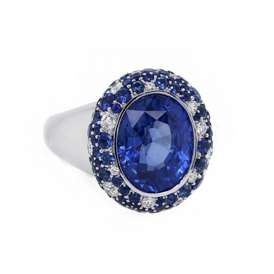 Blue Sapphire Scatter Halo Ring