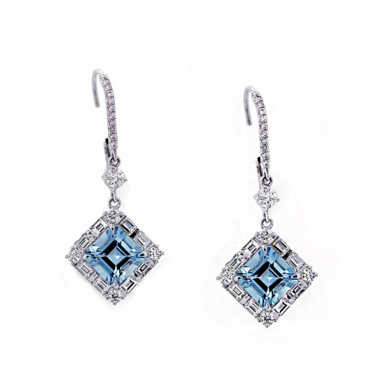 Asscher Cut Aquamarine Earrings Baguette Halos