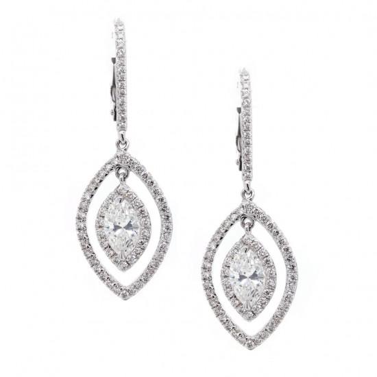 Marquise Shaped Diamond Drop Halo Earrings