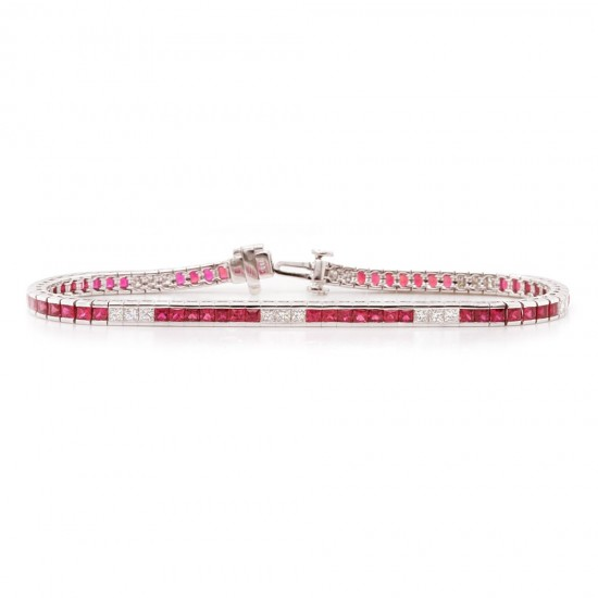 Ruby and Diamond Channel Bracelet