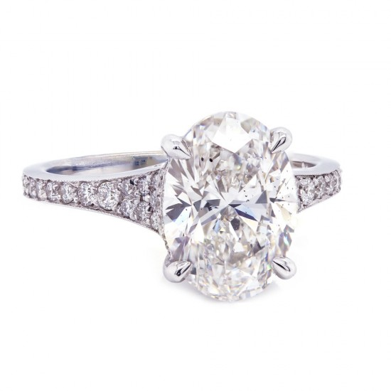 Oval Diamond Tapered Engagement Ring