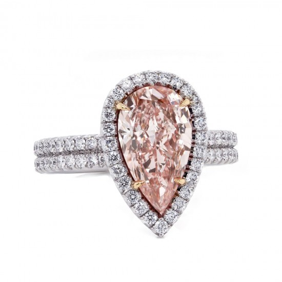 Pink Pear Diamond Halo Ring