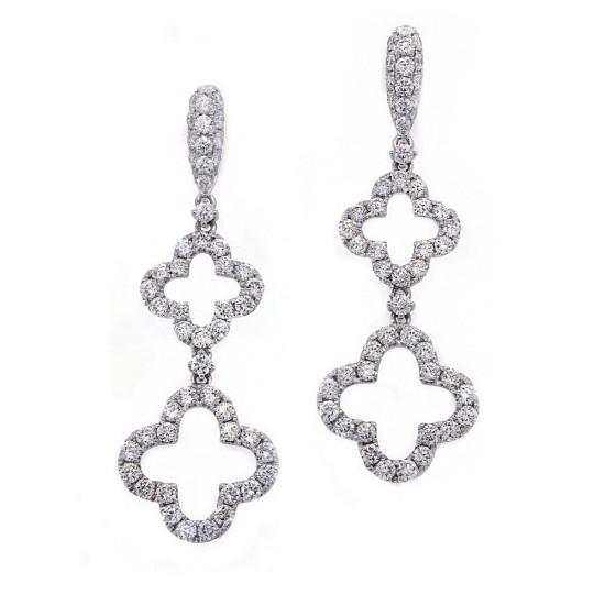Quatrefoil Shaped Diamond Drop Earrings