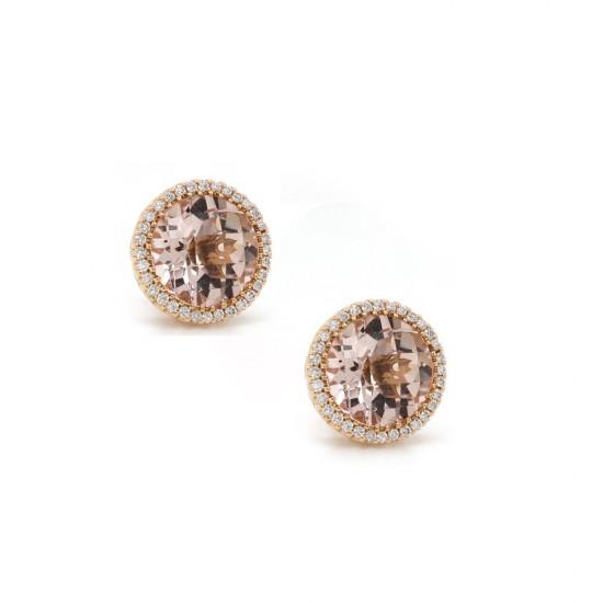 Morganite Rose Gold Halo Earrings