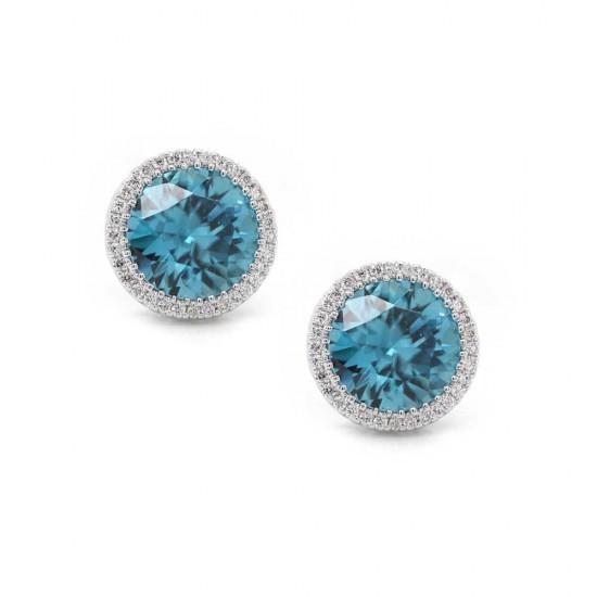 Blue Zircon Halo Earrings