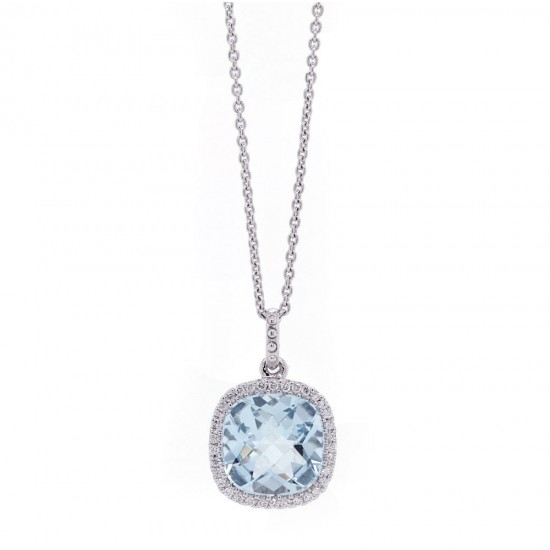 Aquamarine Diamond Halo Pendant