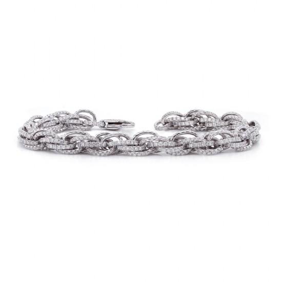 Diamond Pave Oval Link Bracelet