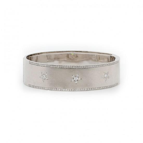 White Gold Flower Diamond Bangle Bracelet