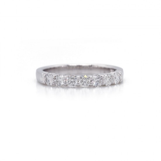 White Gold Shared Prong Seven Diamond Band .55CT TW