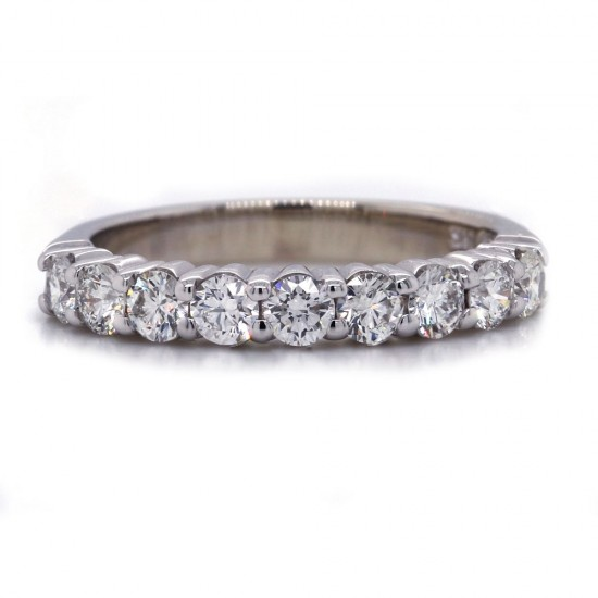 White Gold Shared Prong Nine Diamond Band