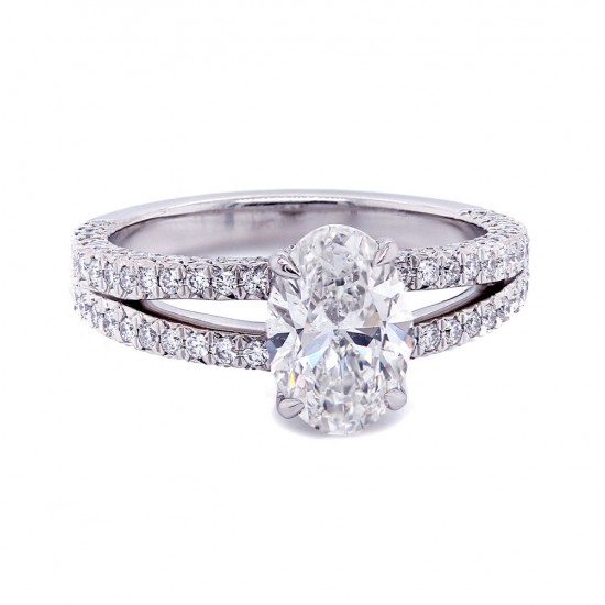 Oval Diamond Split Shank Engagement Ring