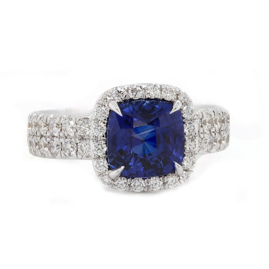 Cushion Blue Sapphire Halo Ring