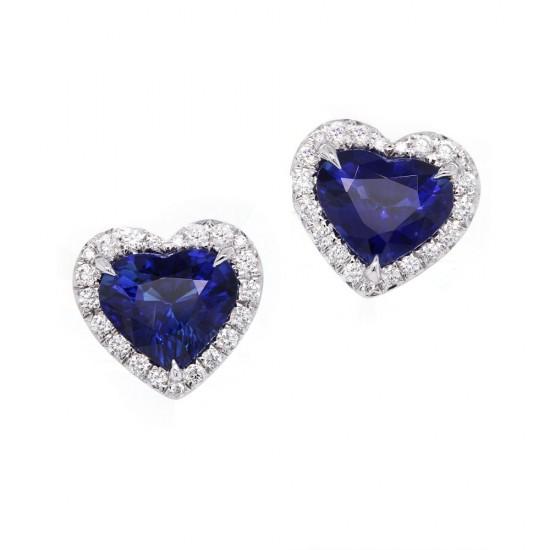 Blue Sapphire Heart Shape Halo Earrings