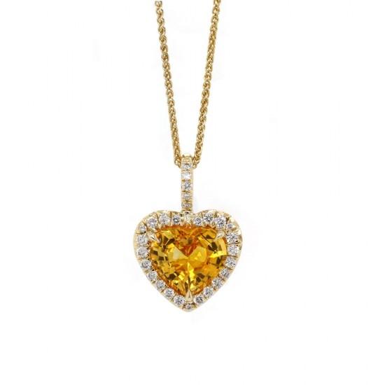 Yellow Sapphire Heart Pendant