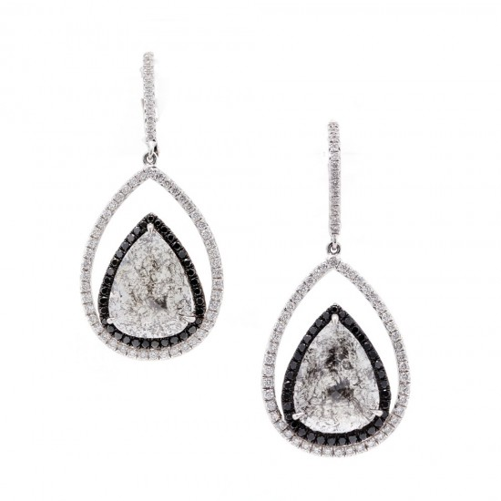Rustic Diamond Drop Earrings