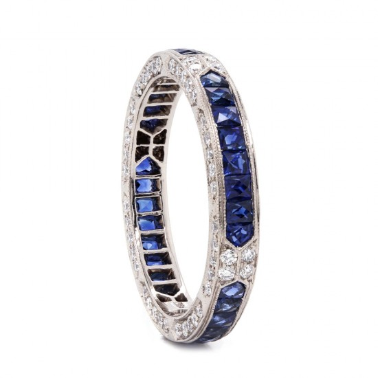 Vintage Style French Cut Sapphire and Diamond Eternity Band