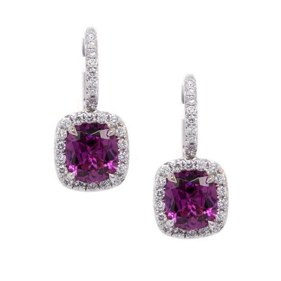 Grape Garnet Halo Earrings