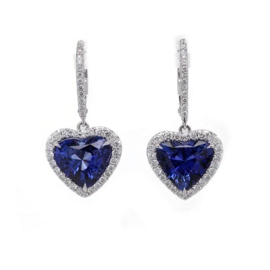 Heart Shaped Blue Sapphire Drop Earrings