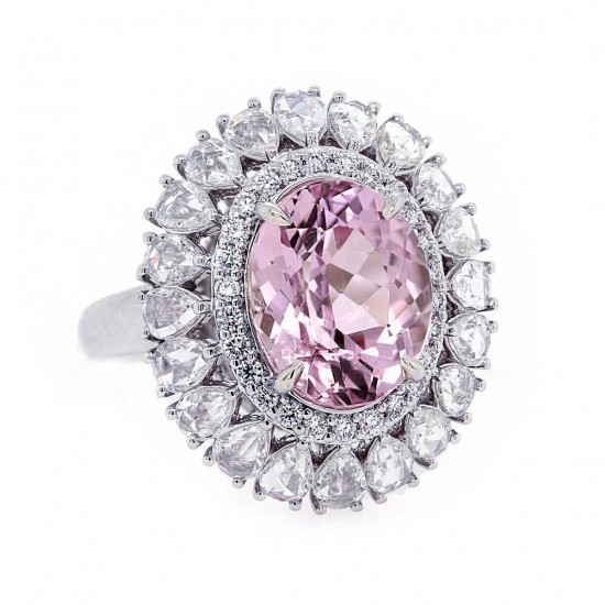 Kunzite Ring with Rose Cut Diamond Halo