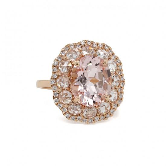 Morganite and Rose Cut Diamond Rose Gold Ring