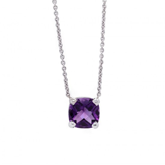Cushion Amethyst Solitaire Pendant