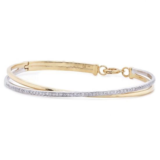 Two Tone Diamond Bangle Bracelet