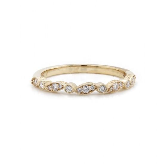 Alternate Diamond Milgrain Ring